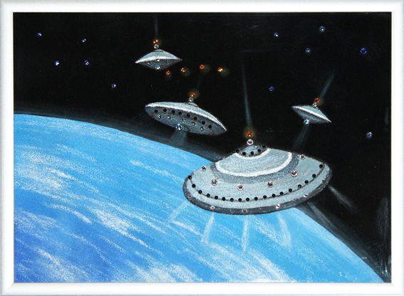 Картина с кристаллами Swarovski  НЛО