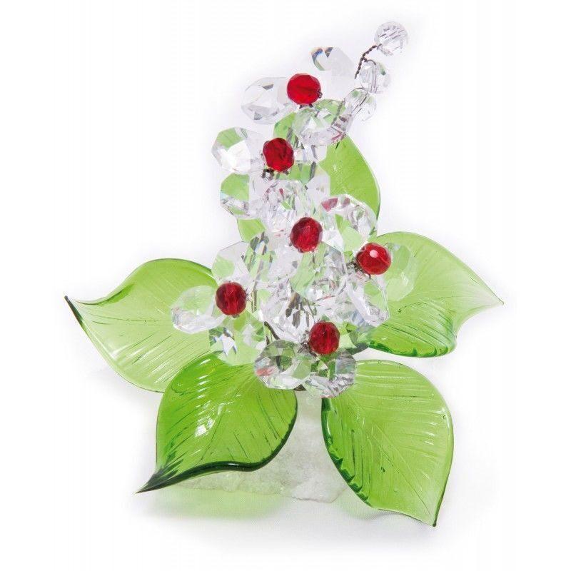 Декоративная композиция из хрусталя на подставке Красные ягоды