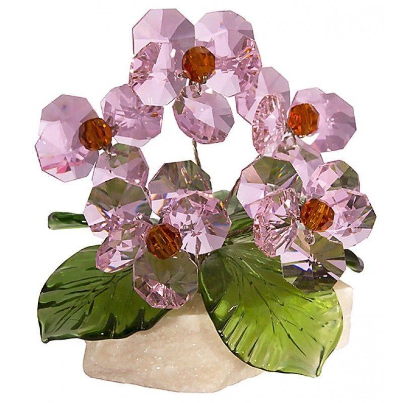 Хрустальные цветы на мраморе Розовый закат