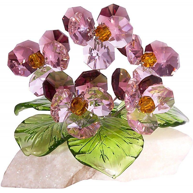 Хрустальные цветы на мраморе Анютины глазки