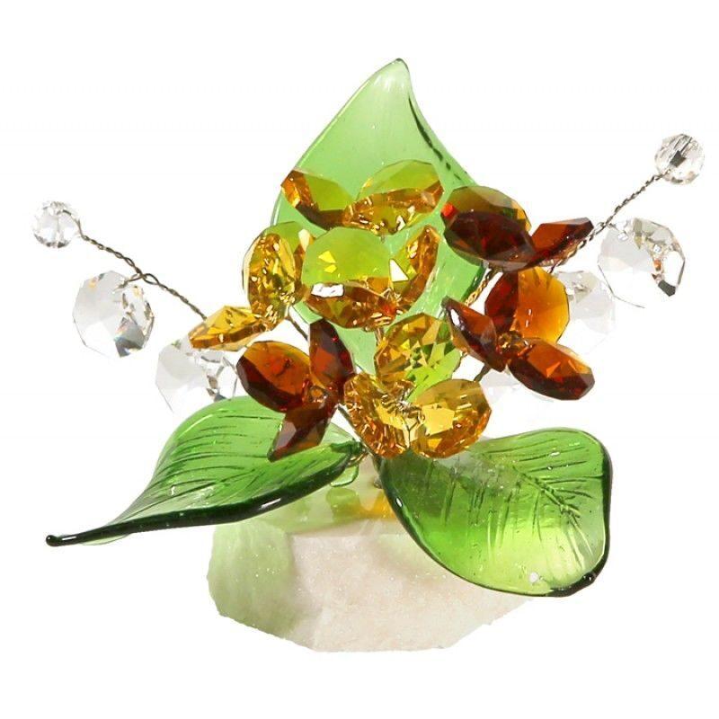 Хрустальный цветок на мраморной подставке Золотая осень