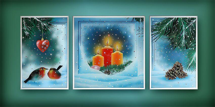 Картина с кристаллами Swarovski Композиция Зима