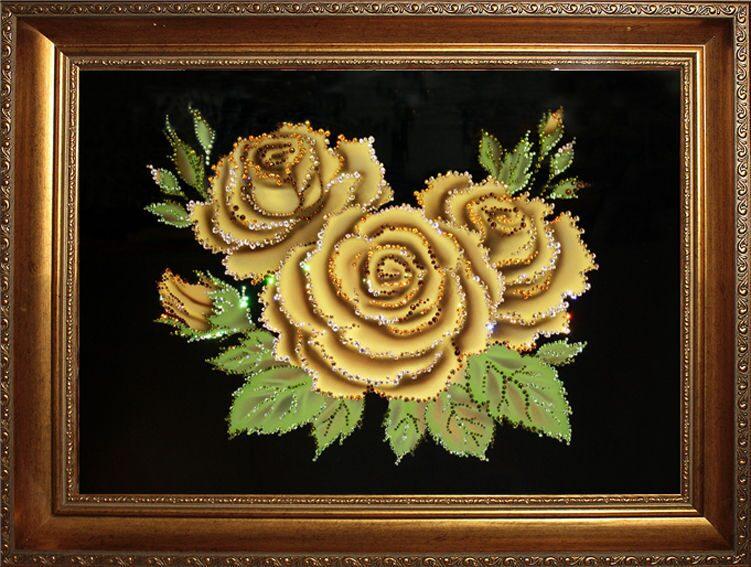 Картина  Swarovski Розы медовые (в багете)