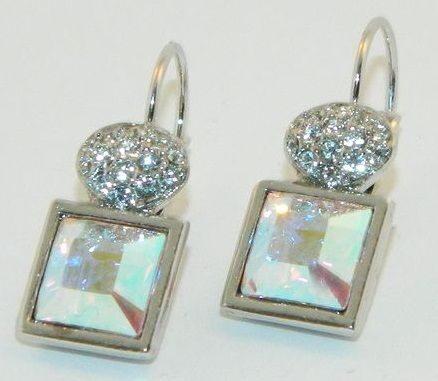 Серьги с кристаллами Swarovski   Мечта, квадратные