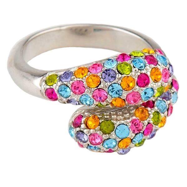 Серебряное кольцо с кристаллами сваровски Змейка