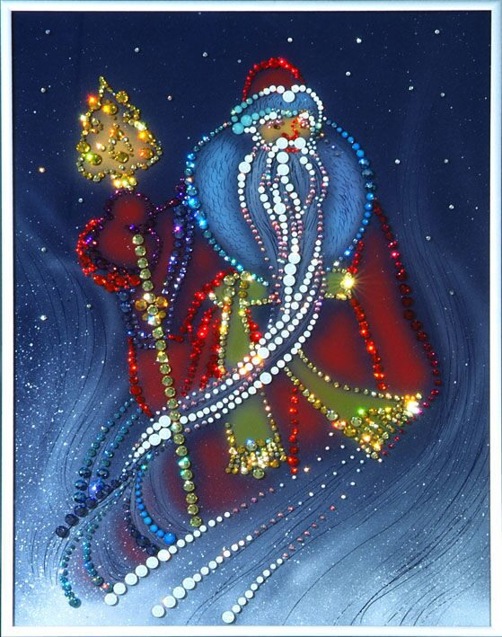 Картина с кристаллами Swarovski  Дед Мороз