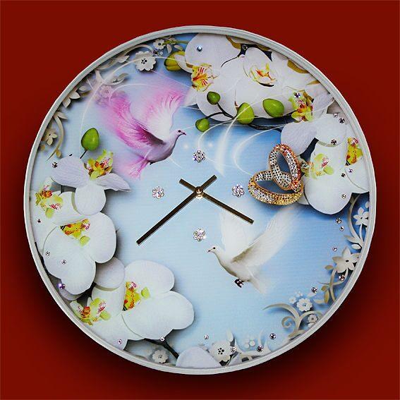 Настенные часы со стразами Swarovski На встречу любви