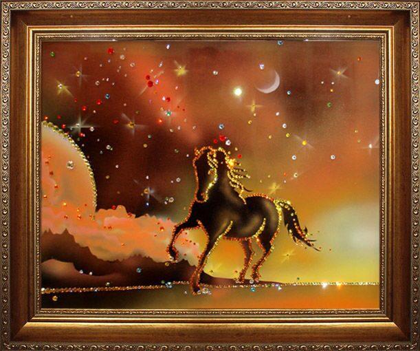 Картина  Swarovski Конь на закате солнца
