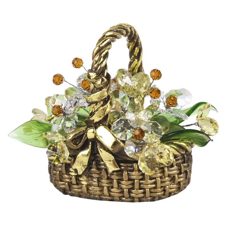 Хрустальные цветы в корзинке Янтарный блеск
