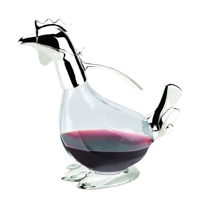 Графин в виде петуха для вина с посеребренными деталями