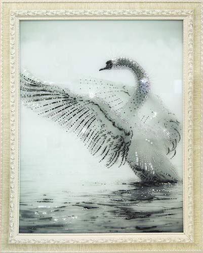 Картина Swarovski Белый лебедь