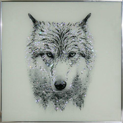 Картина Swarovski Таежный волк