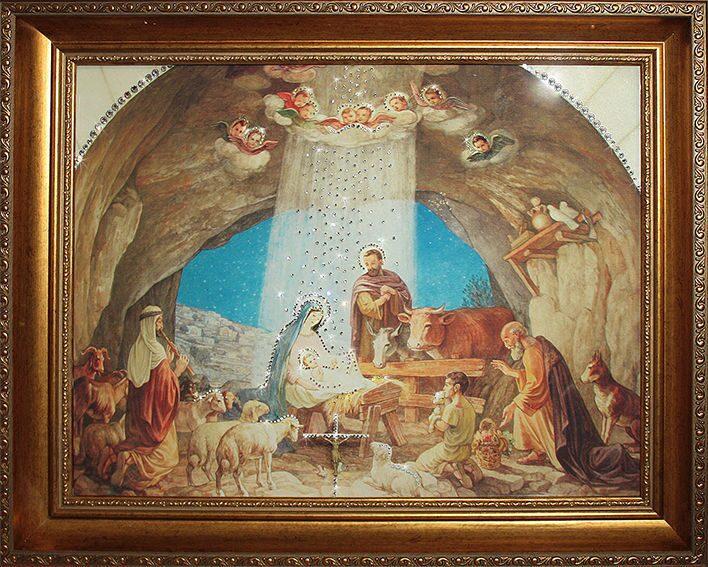 Икона с кристаллами сваровски Рождение Иисуса Христа