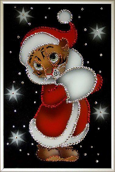 Картина с кристаллами Swarovski  Новогодний тигренок