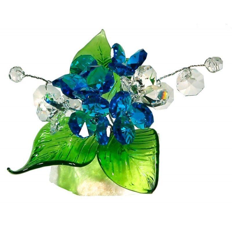 Хрустальный цветок на мраморной подставке Лазурный
