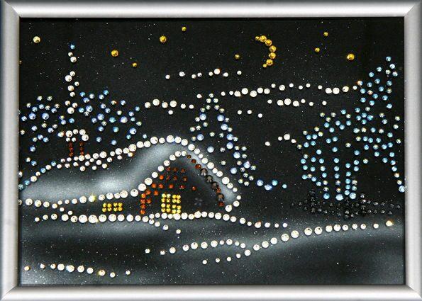 Картина с кристаллами Swarovski  Новогодняя ночь