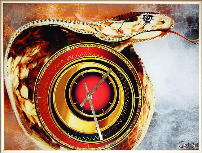 Настенные часы со стразами Swarovski Год змеи